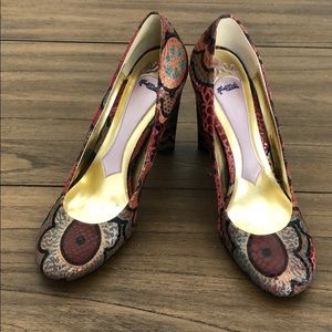 Hale Bob Flower Snake Print Pumps